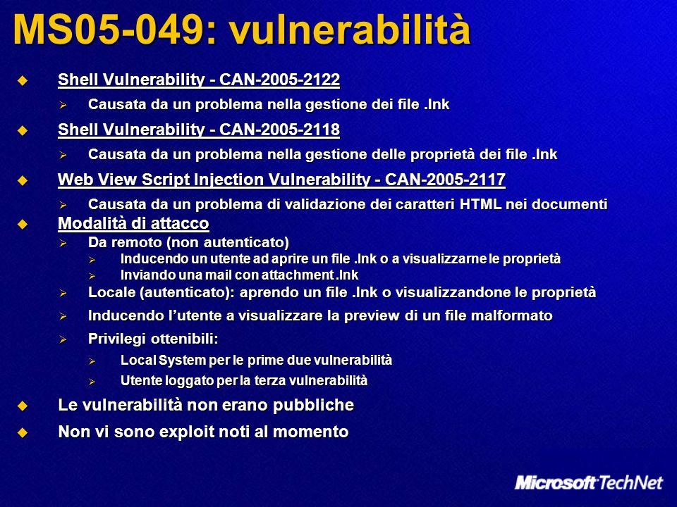 MS05-049: vulnerabilità Shell Vulnerability - CAN-2005-2122