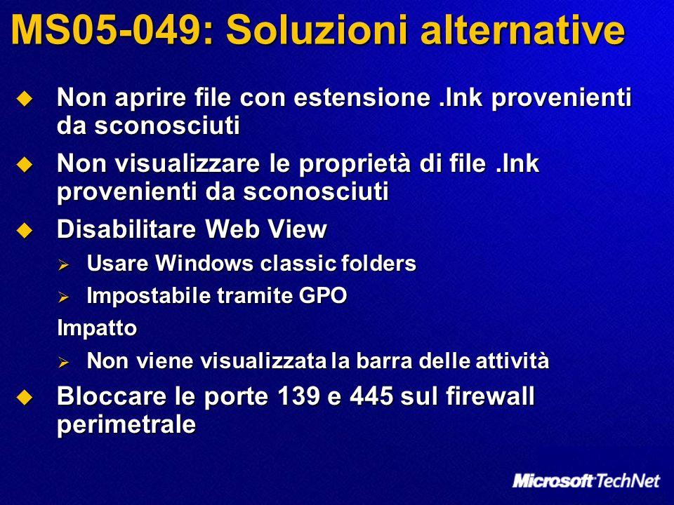MS05-049: Soluzioni alternative