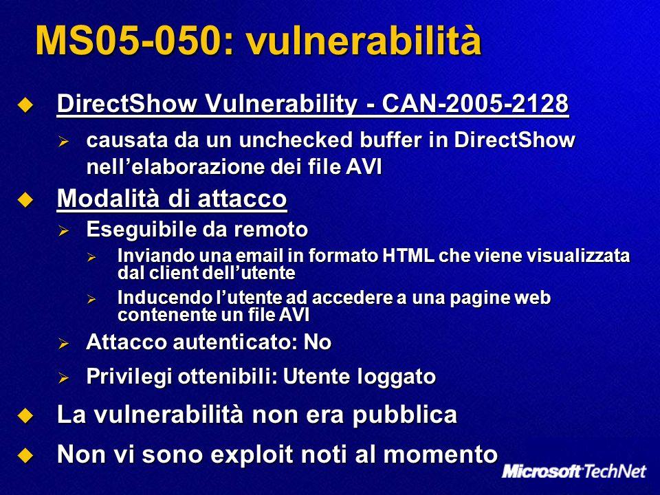 MS05-050: vulnerabilità DirectShow Vulnerability - CAN-2005-2128