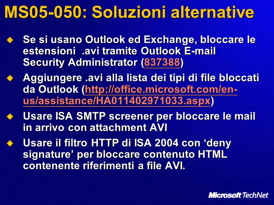 MS05-050: Soluzioni alternative