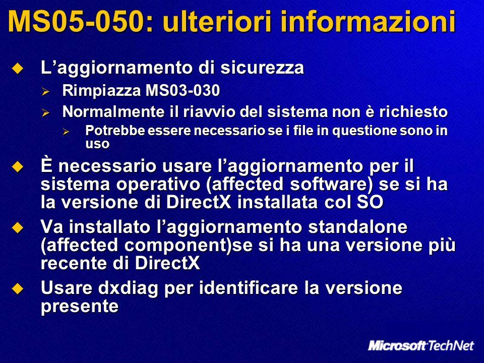 MS05-050: ulteriori informazioni