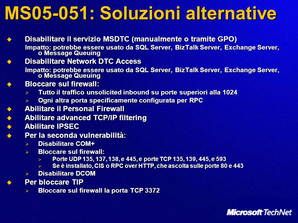 MS05-051: Soluzioni alternative