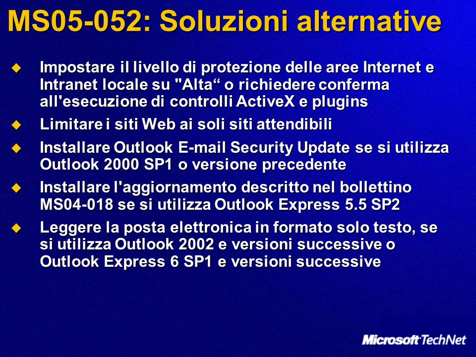 MS05-052: Soluzioni alternative