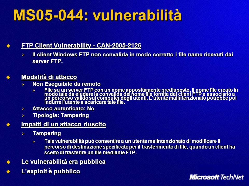 MS05-044: vulnerabilità FTP Client Vulnerability - CAN-2005-2126