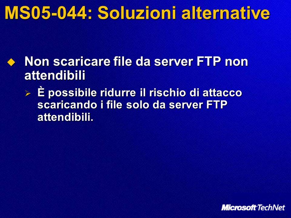 MS05-044: Soluzioni alternative