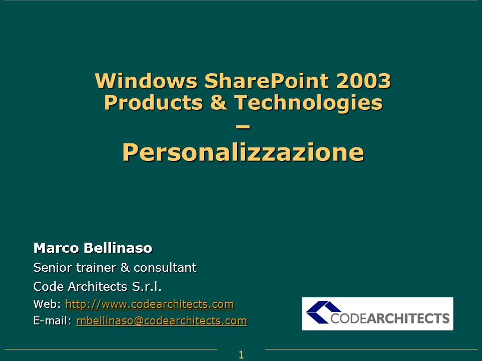 Windows SharePoint 2003 Products & Technologies – Personalizzazione