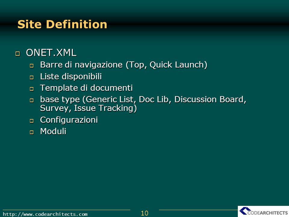 Site Definition ONET.XML Barre di navigazione (Top, Quick Launch)