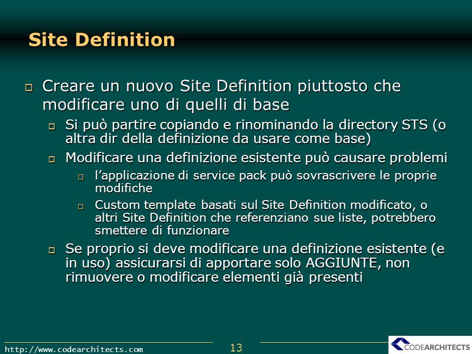 Site Definition Creare un nuovo Site Definition piuttosto che modificare uno di quelli di base.