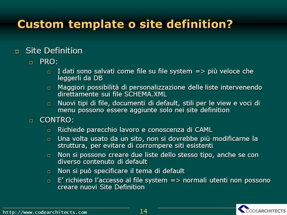 Custom template o site definition