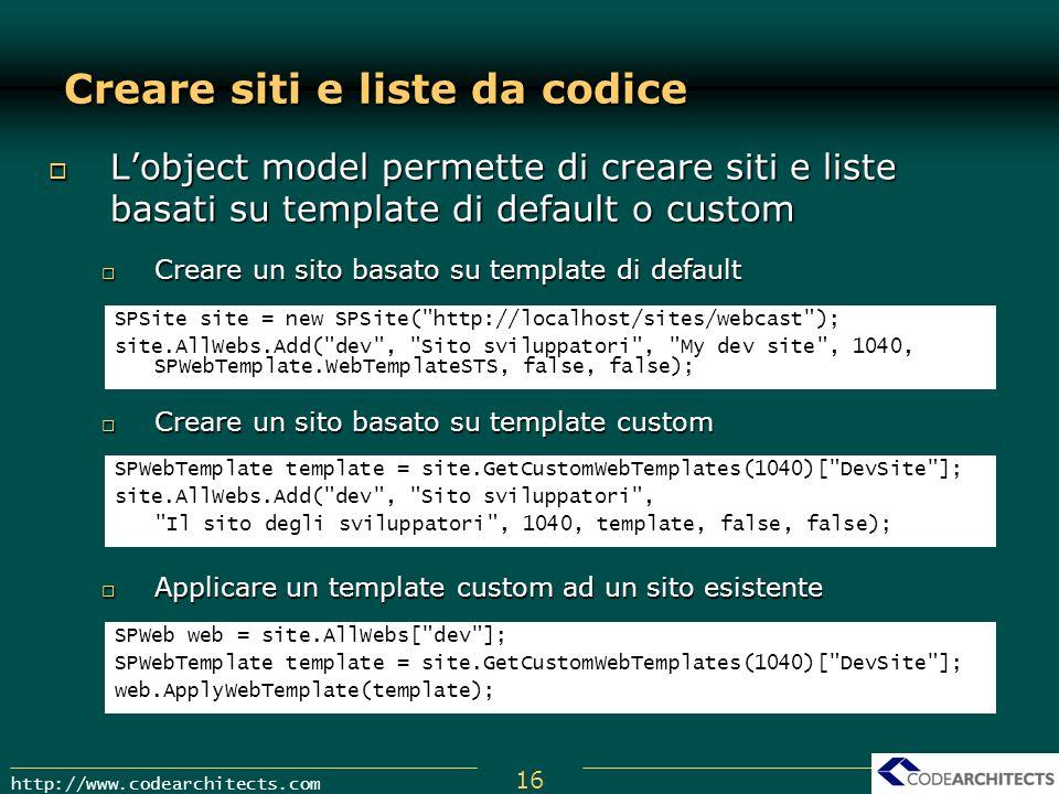 Creare siti e liste da codice