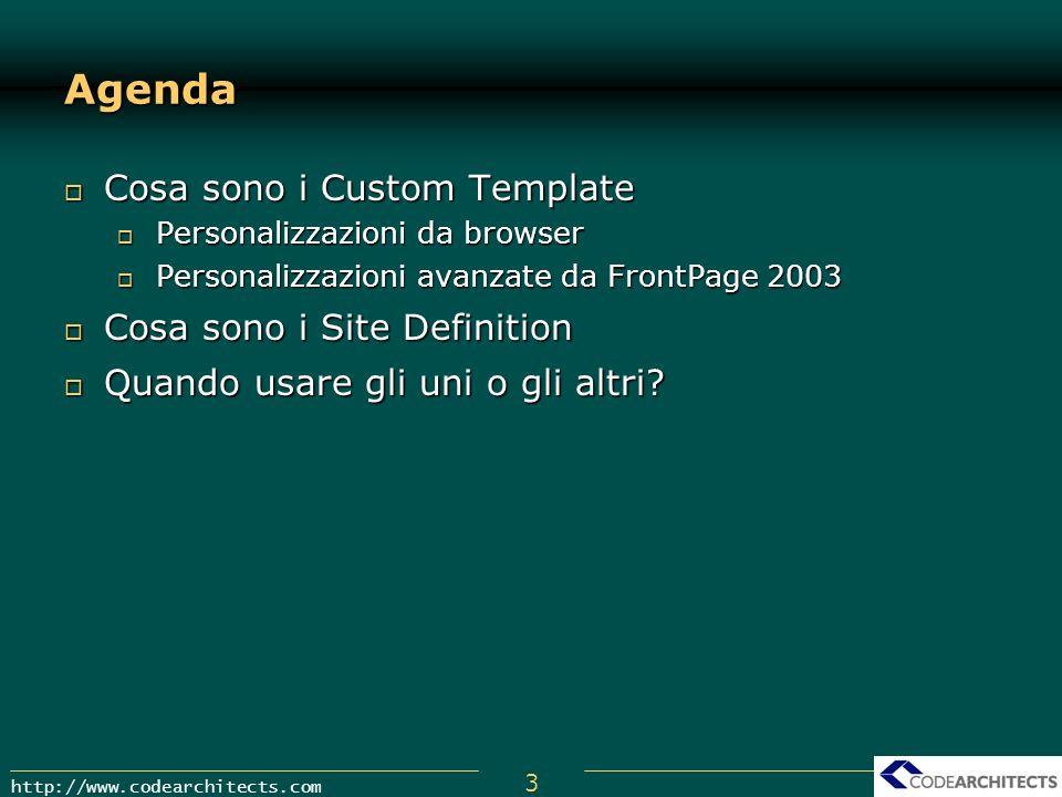 Agenda Cosa sono i Custom Template Cosa sono i Site Definition