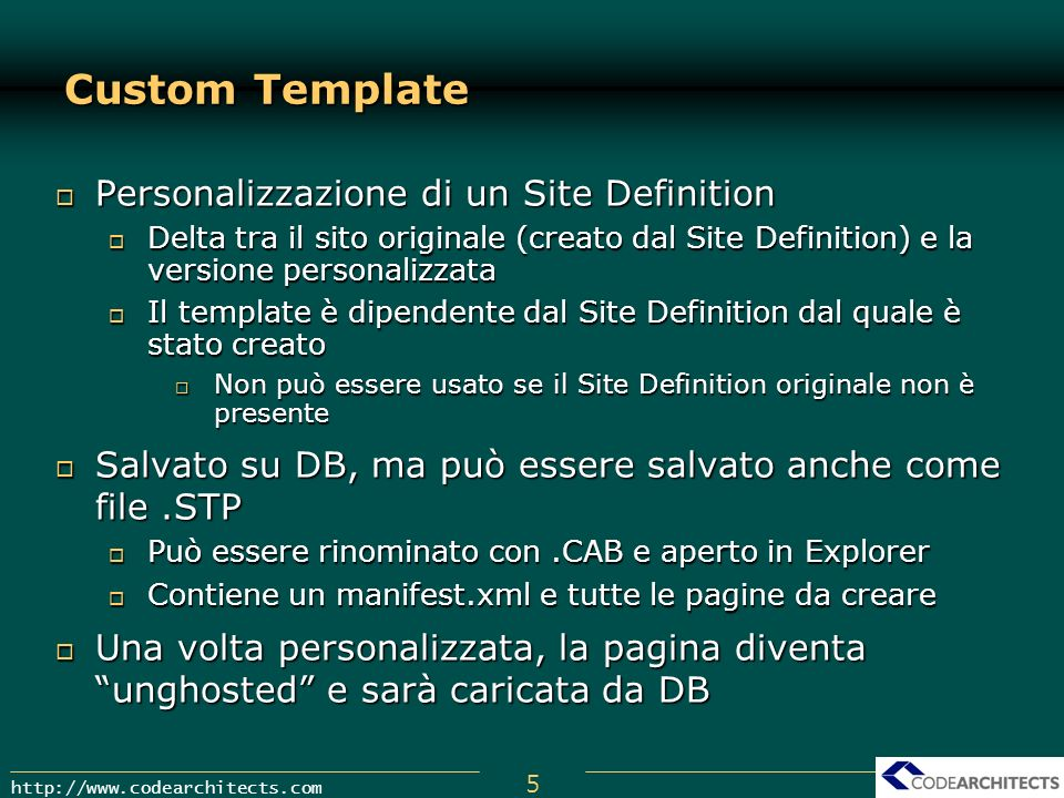 Custom Template Personalizzazione di un Site Definition