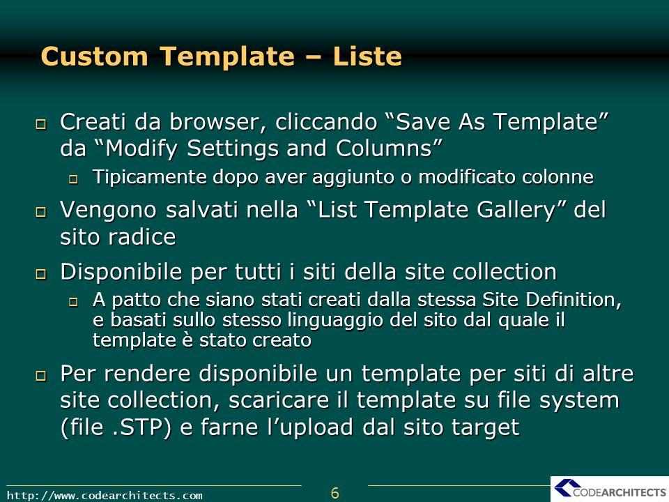 Custom Template – Liste