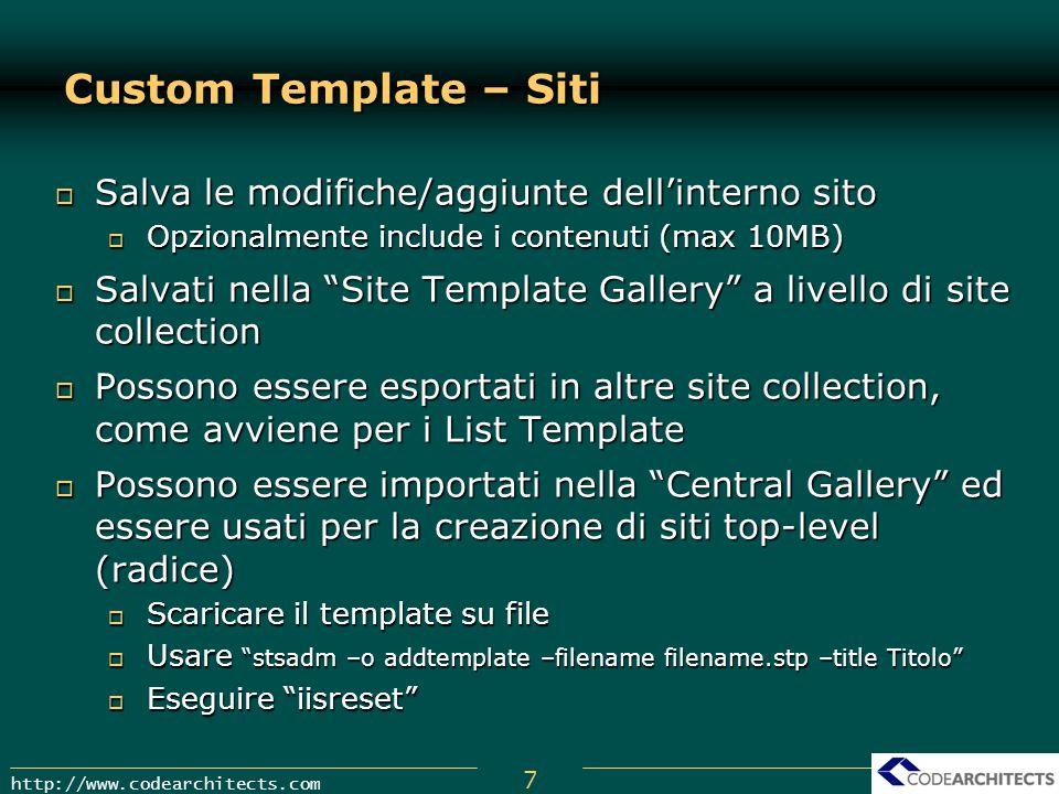 Custom Template – Siti Salva le modifiche/aggiunte dell'interno sito