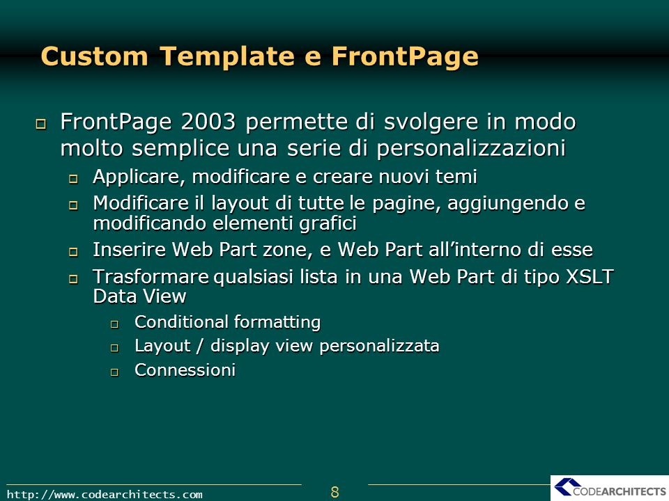 Custom Template e FrontPage