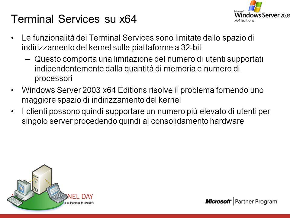 Terminal Services su x64 Le funzionalità dei Terminal Services sono limitate dallo spazio di indirizzamento del kernel sulle piattaforme a 32-bit.