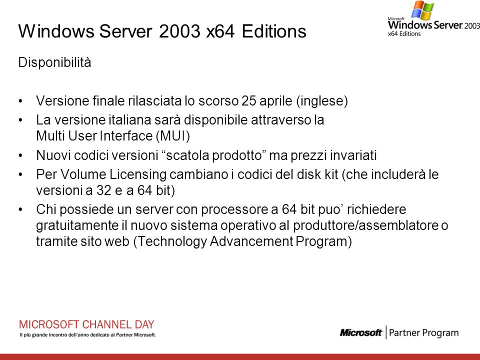 Windows Server 2003 x64 Editions