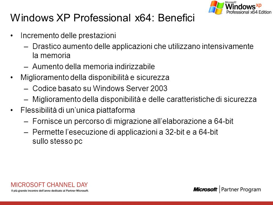 Windows XP Professional x64: Benefici