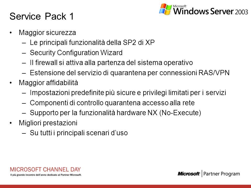 Service Pack 1 Maggior sicurezza