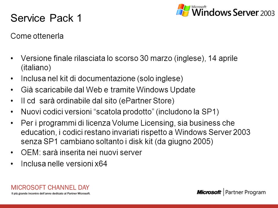 Service Pack 1 Come ottenerla
