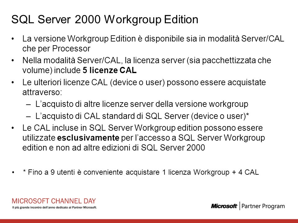 SQL Server 2000 Workgroup Edition