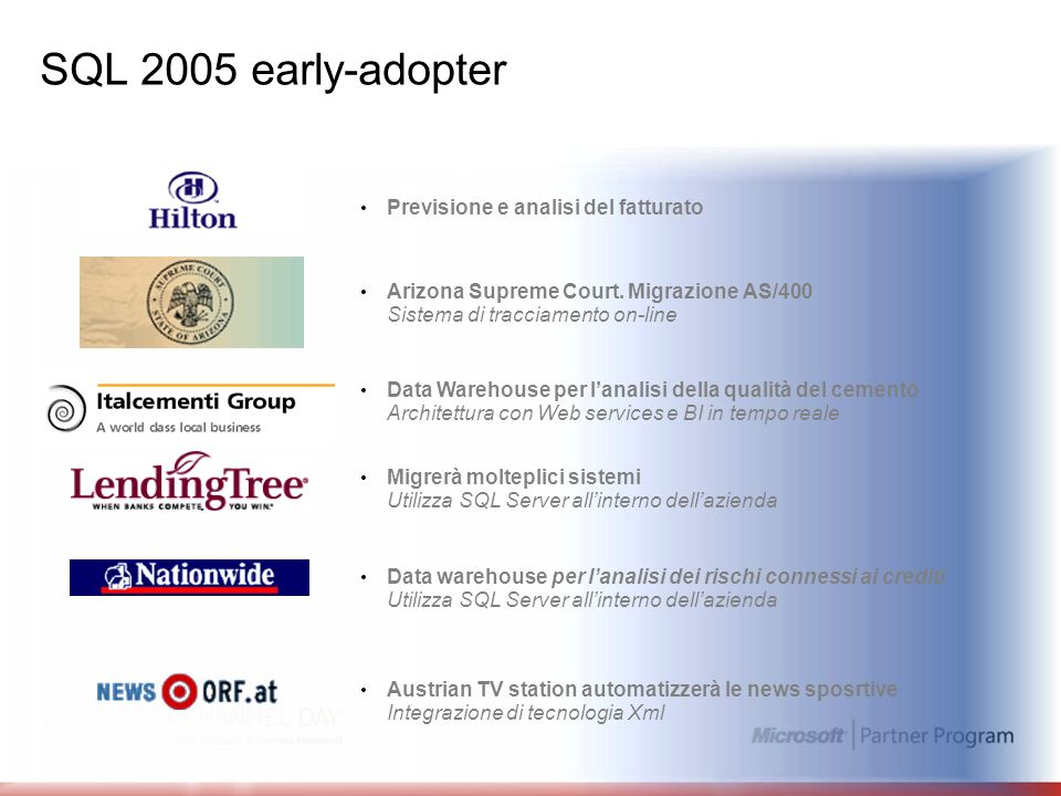 SQL 2005 early-adopter Previsione e analisi del fatturato