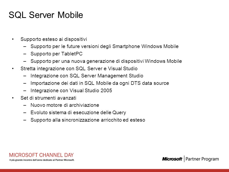SQL Server Mobile Supporto esteso ai dispositivi