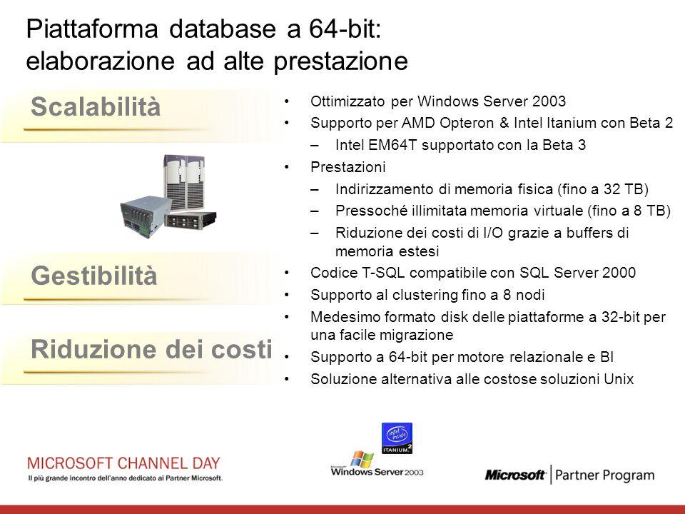 Piattaforma database a 64-bit: elaborazione ad alte prestazione