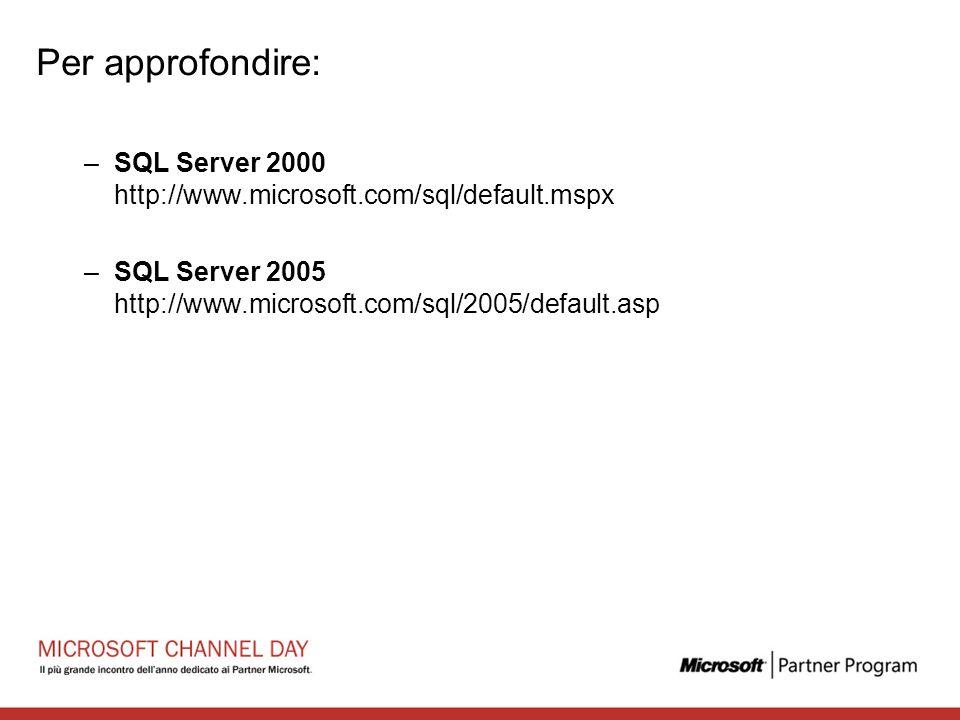 Per approfondire: SQL Server 2000 http://www.microsoft.com/sql/default.mspx.