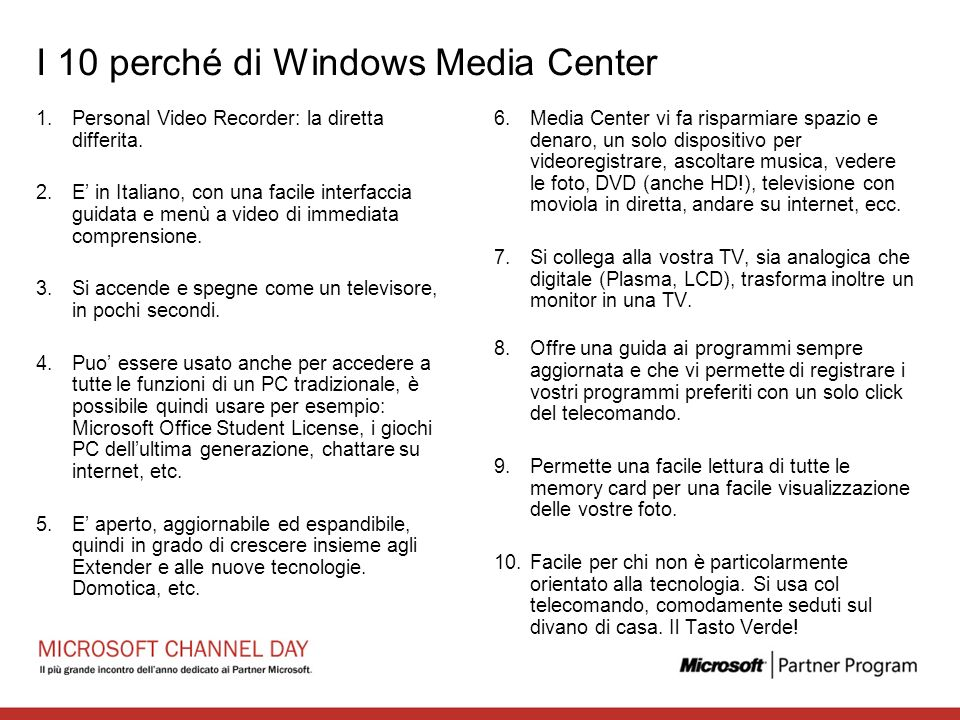 I 10 perché di Windows Media Center