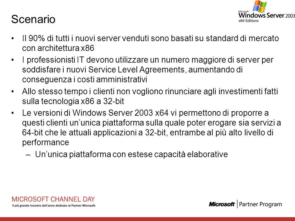 Scenario Il 90% di tutti i nuovi server venduti sono basati su standard di mercato con architettura x86.