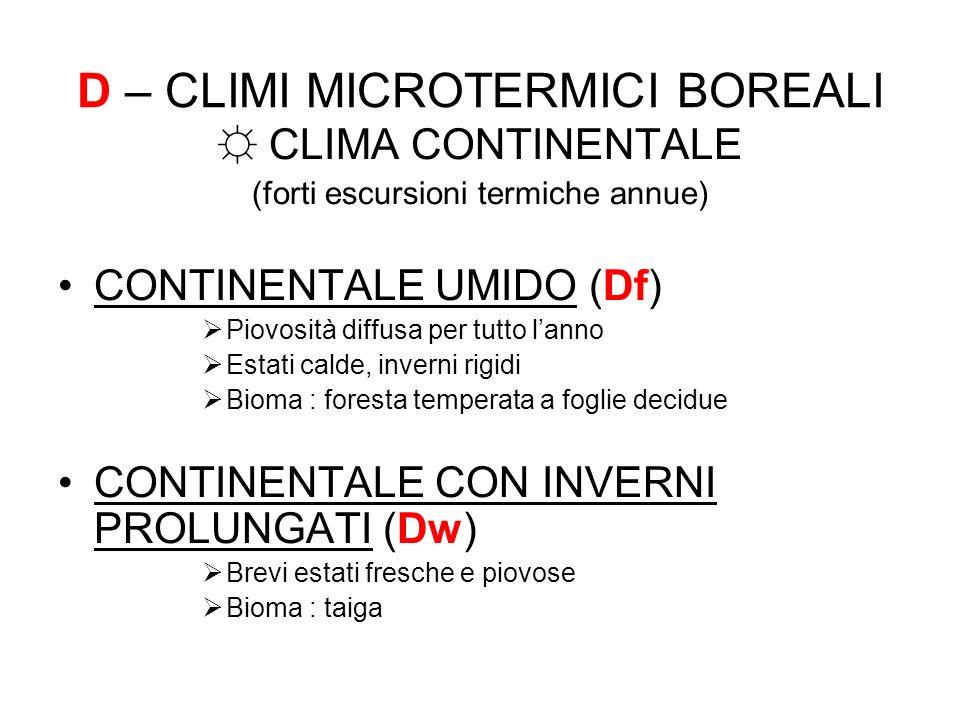 D – CLIMI MICROTERMICI BOREALI