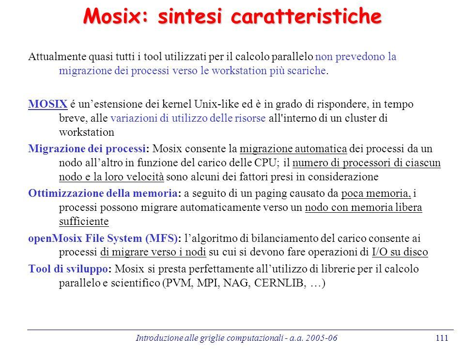 Mosix: sintesi caratteristiche