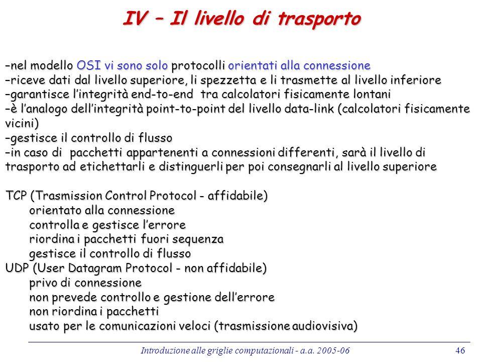 IV – Il livello di trasporto
