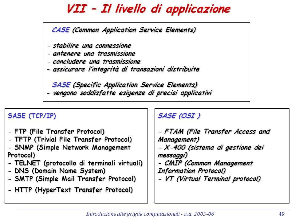 VII – Il livello di applicazione