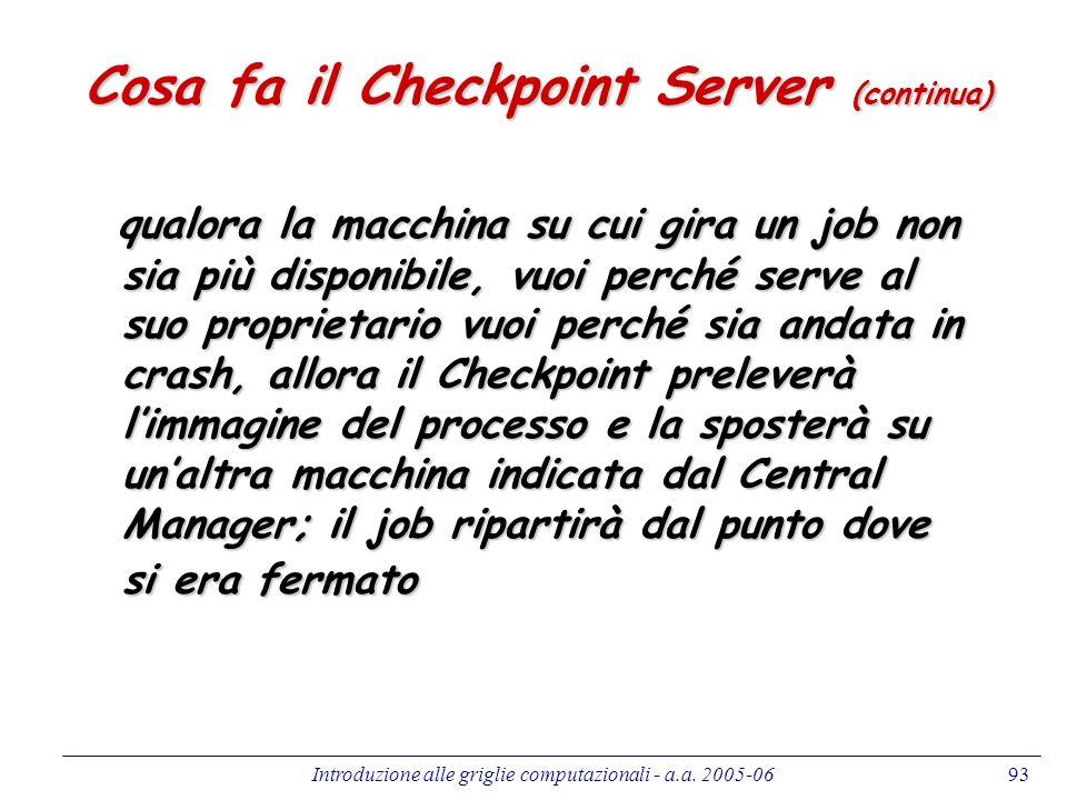Cosa fa il Checkpoint Server (continua)