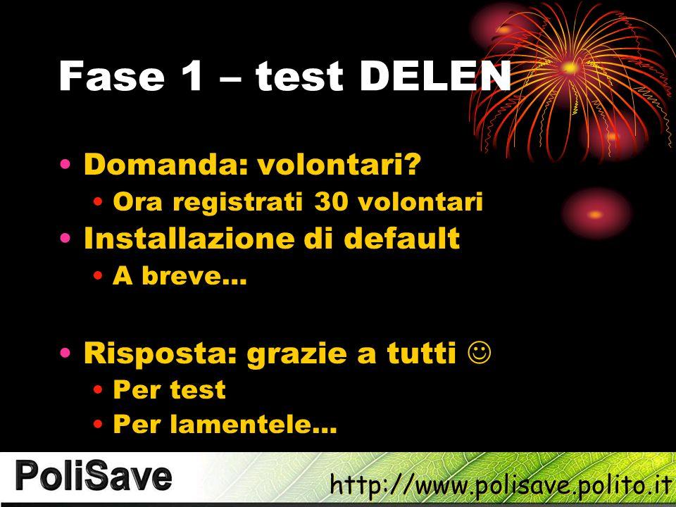 Fase 1 – test DELEN Domanda: volontari Installazione di default