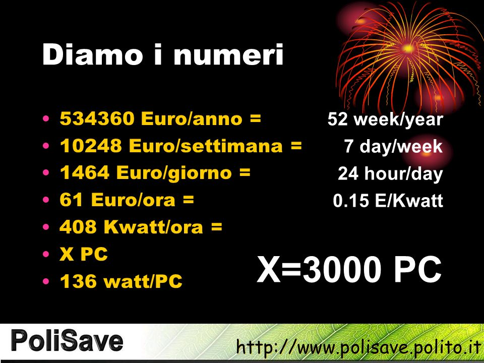 X=3000 PC Diamo i numeri 52 week/year 7 day/week 24 hour/day