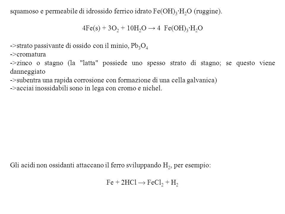 4Fe(s) + 3O2 + 10H2O → 4 Fe(OH)3·H2O