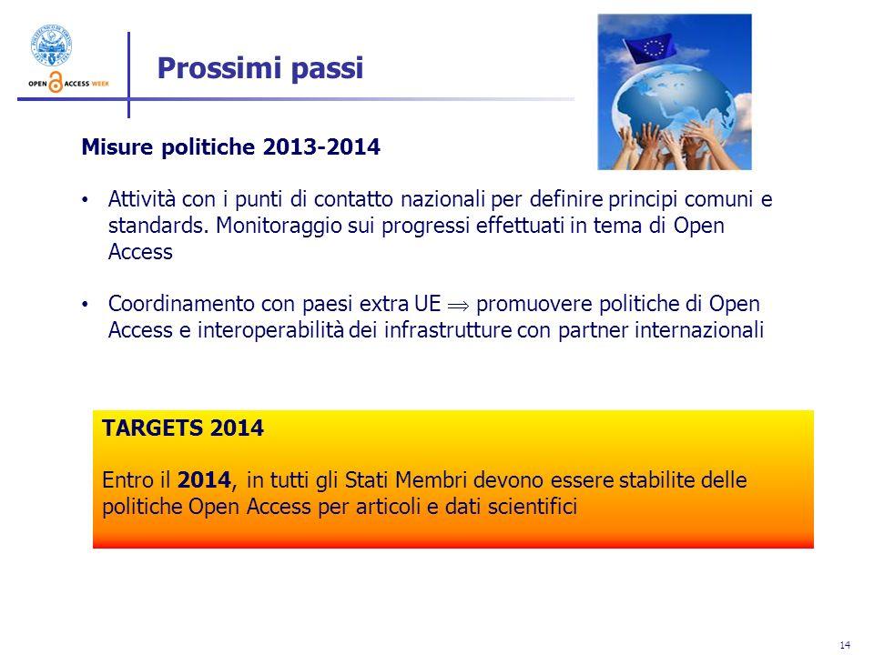 Prossimi passi Misure politiche 2013-2014