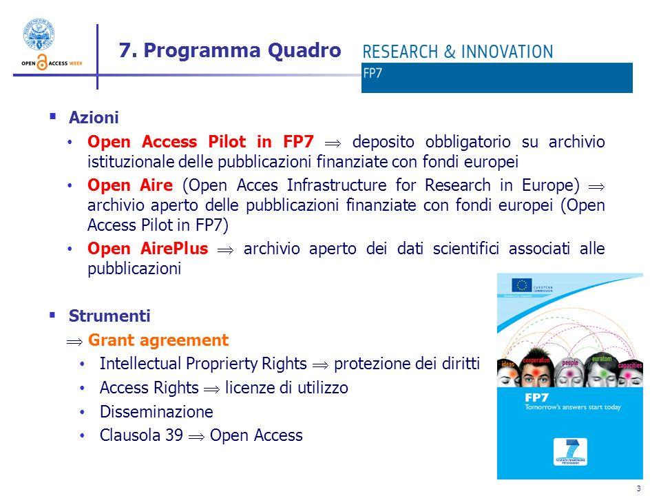 7. Programma Quadro Azioni