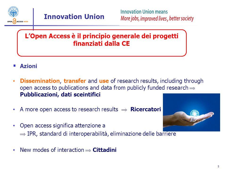 L'Open Access è il principio generale dei progetti finanziati dalla CE