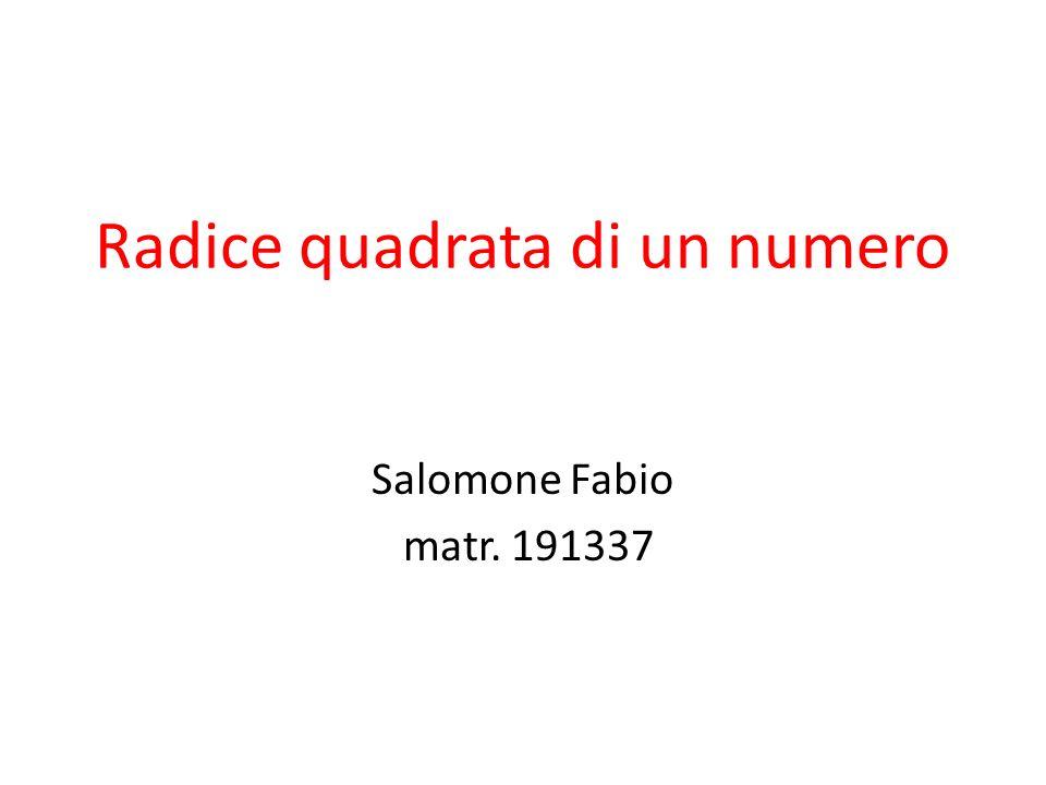 Radice quadrata di un numero