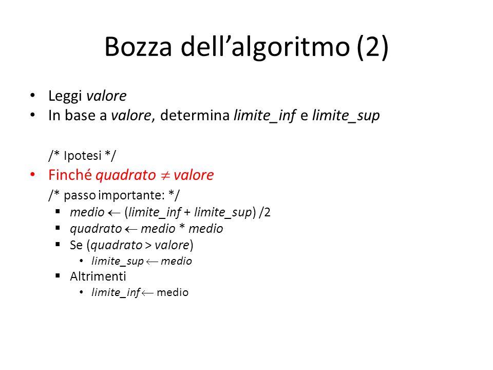 Bozza dell'algoritmo (2)