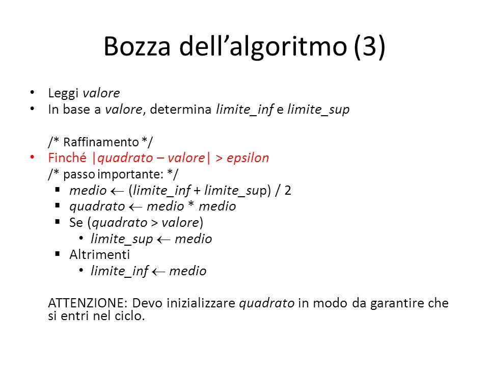 Bozza dell'algoritmo (3)