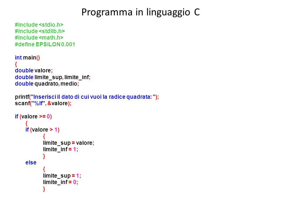 Programma in linguaggio C