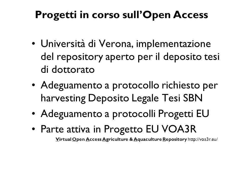 Progetti in corso sull'Open Access