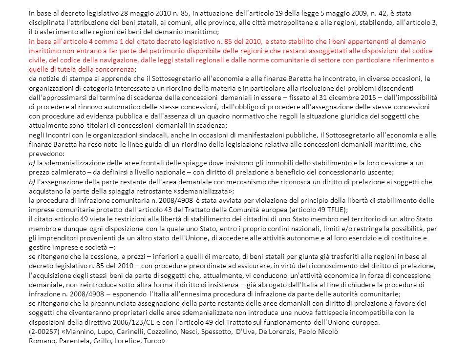 in base al decreto legislativo 28 maggio 2010 n