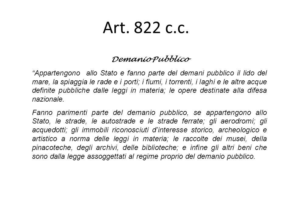 Art. 822 c.c. Demanio Pubblico