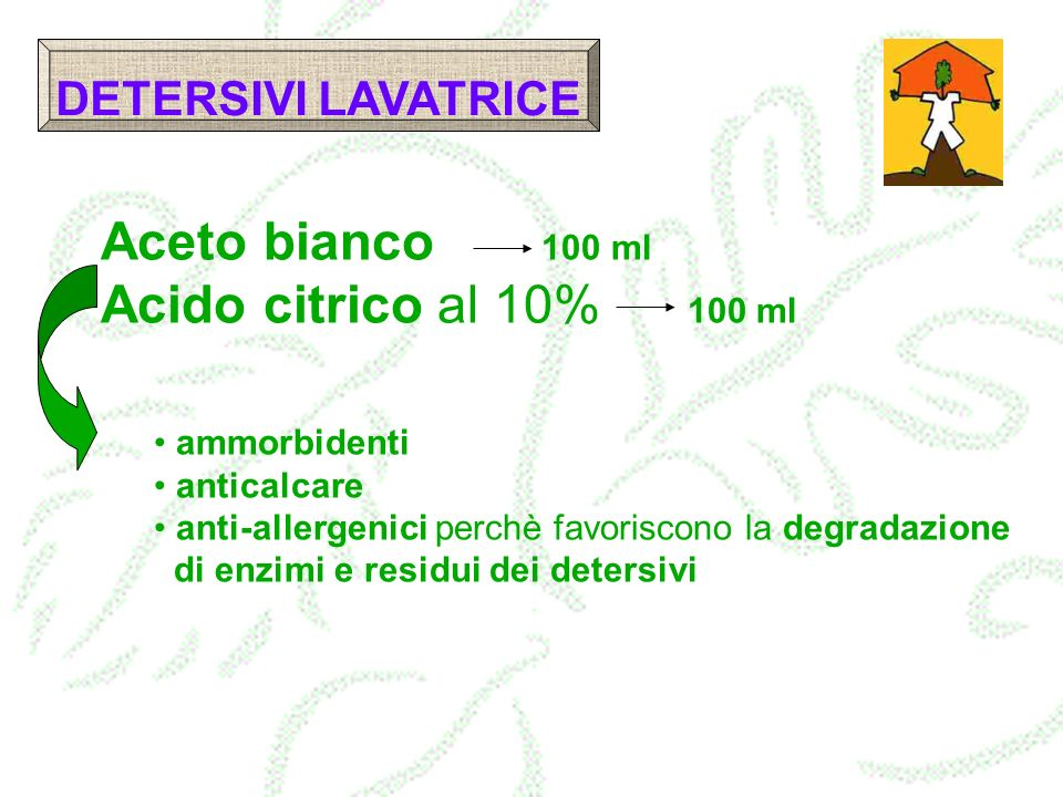 Aceto bianco 100 ml Acido citrico al 10% 100 ml DETERSIVI LAVATRICE